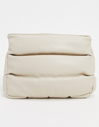 ASOS DESIGN clean clutch bag in off white quilted puff