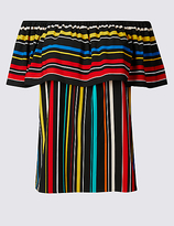 Per Una Striped Short Sleeve Bardot Top