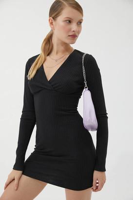 Urban Outfitters Gianna Ribbed Long Sleeve Mini Dress