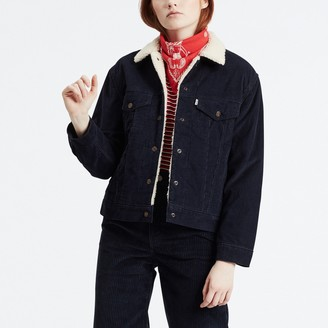 Levi's Cotton Mix Corduroy Jacket with Faux Sheepskin Lining and Pockets