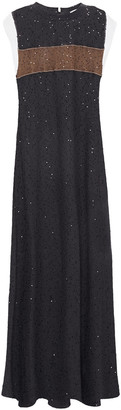 Brunello Cucinelli Embellished Linen And Silk-blend Maxi Dress