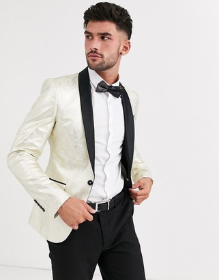 Avail London skinny tuxedo jacket in gold cracked foil
