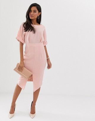 ASOS DESIGN wiggle midi dress in blush