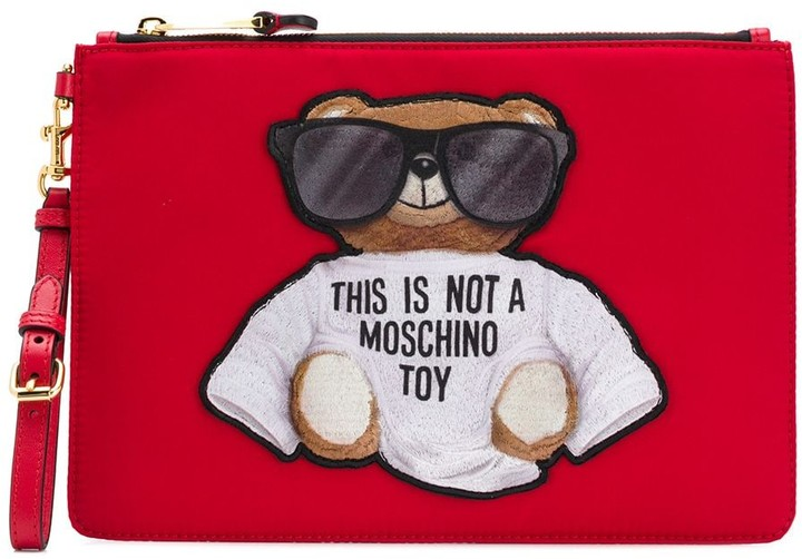Moschino Teddy Embroidered Logo Clutch Bag