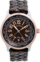 Tommy Bahama Watch, Men's Swiss Brown Leather Strap 42mm TB1235
