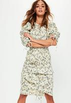 Missguided Printed Ruched Side Crinkle Midi Skirt