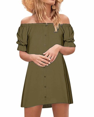 Style Dome StyleDome Women's Sexy Summer Off Shoulder Party Beach Casual Loose Strapless Half Sleeve Long Tops Mini Dress Plus Size