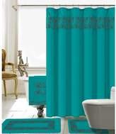 Latitude Run Elysee 18 Piece Embroidery Shower Curtain Set