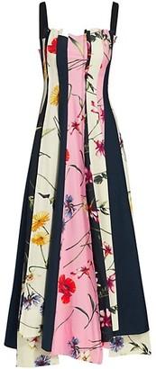 Oscar de la Renta Squareneck Floral Panel Midi Dress