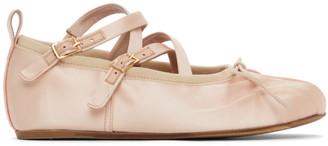 Simone Rocha Pink Satin Crisscross Ballerina Flats