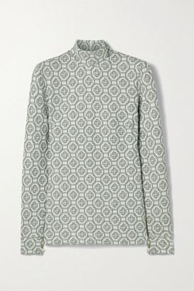 Casablanca Metallic Jacquard-knit Turtleneck Top - Light gray