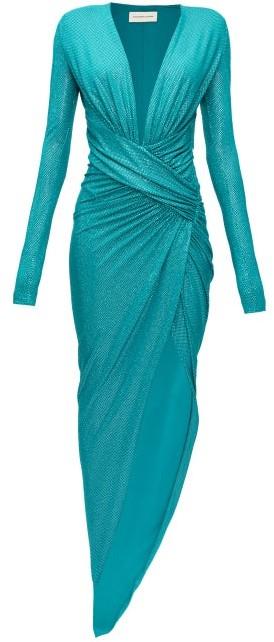 Alexandre Vauthier Plunge-neck Crystal-embellished Slit-front Gown - Dark Green