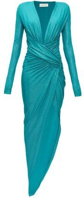 Alexandre Vauthier Plunge-neck Crystal-embellished Slit-front Gown - Womens - Dark Green