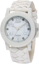 Sprout Women's ST/2500MPWT White Carp Fish Skin Strap Diamond Dial Eco-Friendly Watch