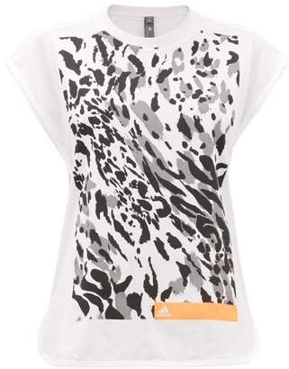 adidas by Stella McCartney Graphic Leopard-print Cotton-blend Vest - Womens - White