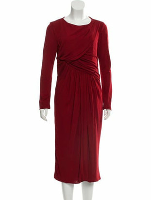 Elie Saab Long Sleeve Midi Dress red