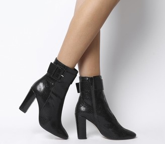 Office Astonish Block Heel Buckle Strap Boots Black Snake