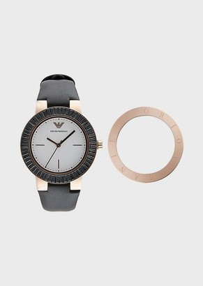 Emporio Armani Women'S Gift Set Watch With Interchangeable Top Ring