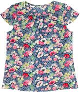 Cath Kidston Winfield Flowers Pleat Detail Silk Top