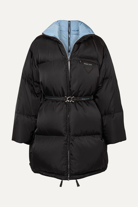 Prada Belted Quilted Shell Down Coat - Black