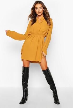 boohoo Woven Shirred Waist Shirt Dress