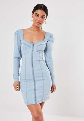 Missguided Light Blue Puff Sleeve Zip Through Denim Dress