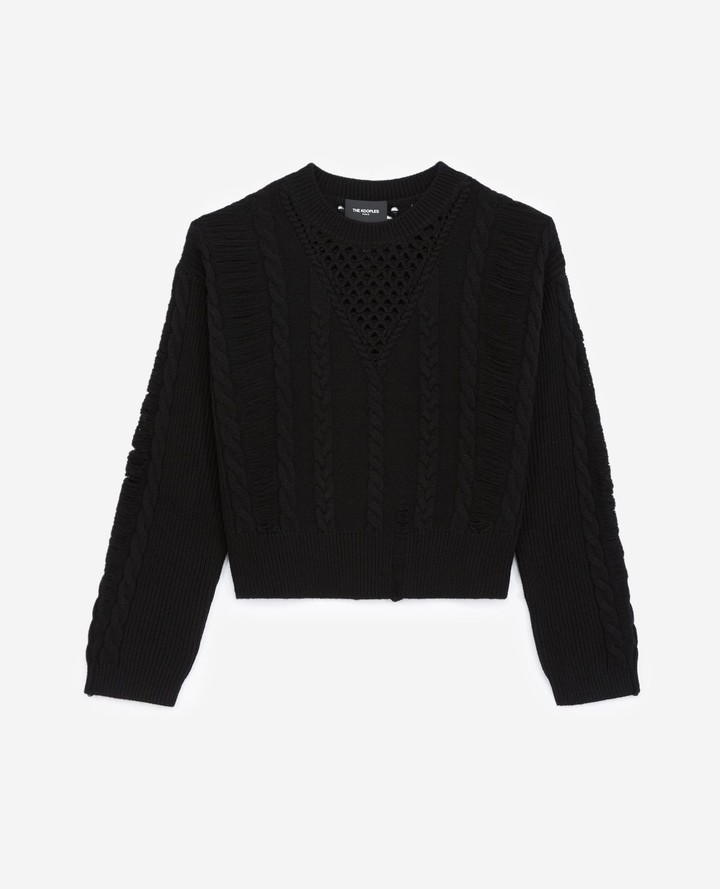 The Kooples Black sweater in wool/cashmere with rips