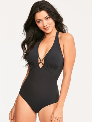 Figleaves Icon Strapping Halter Shaping Swimsuit - Black