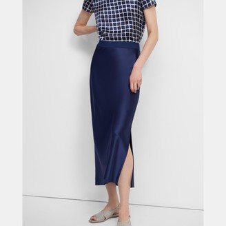 Theory Maxi Slip Skirt in Sateen
