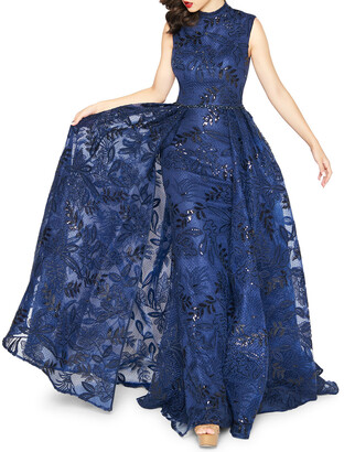 Mac Duggal High-Neck Sleeveless Novelty Fabric Column Gown w/ Overskirt