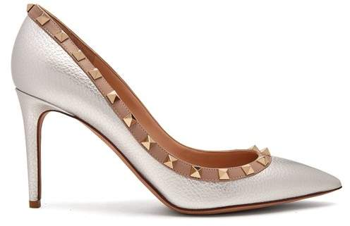 Valentino Rockstud Grained Leather Pumps - Womens - Silver