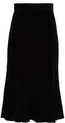 Dolce & Gabbana Fluted Velvet Midi Skirt - Black