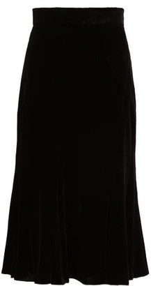 Dolce & Gabbana Fluted Velvet Midi Skirt - Womens - Black