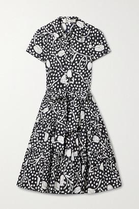 Diane von Furstenberg Zaria Belted Tiered Printed Cotton-poplin Shirt Dress - Navy