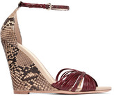 Alexandre Birman Python And Leather Wedge Sandals - Claret