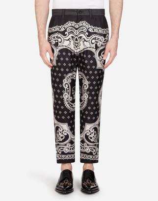 Dolce & Gabbana Denim Pants With Inserts In Bandana Print