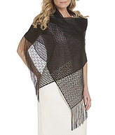 Cejon Metallic Crocheted Fringe Metallic Evening Wrap