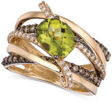 LeVian Le Vian Peridot (1-3/4 ct. t.w.) and Chocolate and White Diamond (7/8 ct. t.w.) Gladiator Ring in 14k Gold