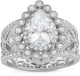 Ice Tiara 3 1/6 CT TW Pear-Cut Cubic Zirconia Sterling Silver Filigree Fashion Ring
