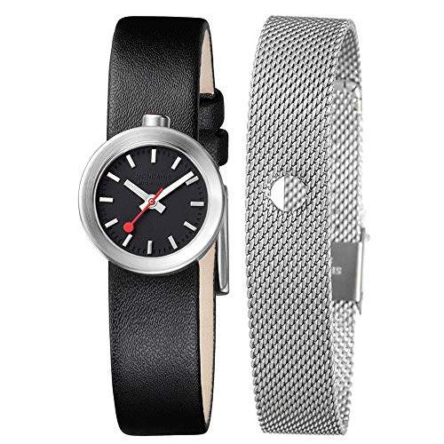 Mondaine Women's Quartz Watch with Black Dial Analogue Display and Black Leather Strap A6663032414SBBB
