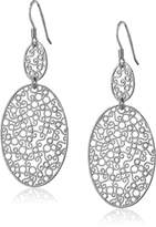 Amazon Collection Sterling Italian Rhodium Plated Filigree Double Oval Drop Earrings