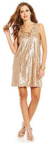 Gianni Bini Social Lance Lace-Up Neck Sleeveless Sequin Dress