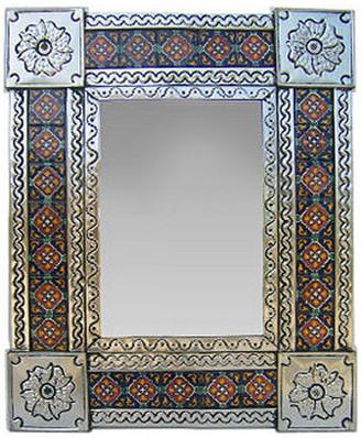 Fine Crafts & Imports Small Silver Granada Tile Talavera Tin Mirror