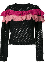 Moschino open knit ruffle top