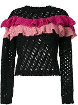 Moschino open knit ruffle top