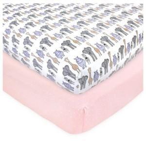 Hudson Baby Baby Girls Safari Fitted Crib Sheet