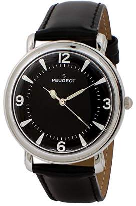Peugeot Men's Slim Case Metal Dress Watch with Leather Wrist Strap