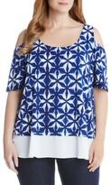 Karen Kane Plus Size Women's Sheer Hem Cold Shoulder Top