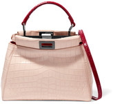 Fendi Peekaboo Small Crocodile Shoulder Bag - Blush