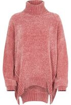 River Island Womens Pink chenille knit oversized roll neck jumper